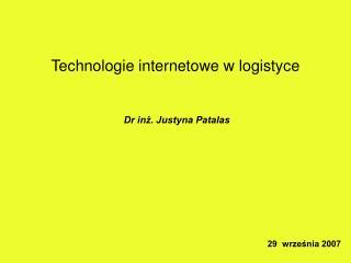 Technologie internetowe w logistyce