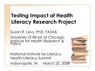 Testing Impact of Health Literacy Research Project