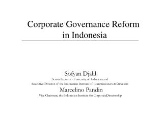 Corporate Governance Reform  in Indonesia