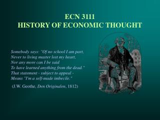 ECN 3111 HISTORY OF ECONOMIC THOUGHT