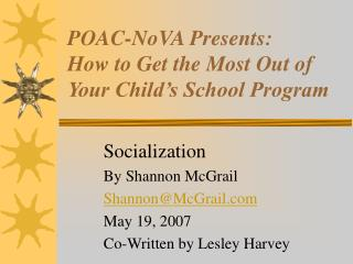 POAC-NoVA Presents: How to Get the Most Out of Your Child's School Program
