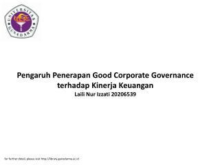 Pengaruh Penerapan Good Corporate Governance terhadap Kinerja Keuangan Laili Nur Izzati 20206539