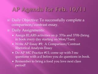AP Agenda for Feb.  10/11
