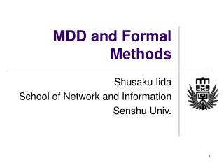 MDD and Formal Methods