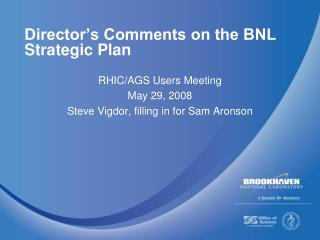 Director's Comments on the BNL Strategic Plan