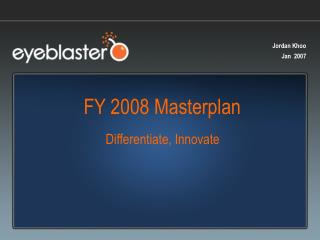 FY 2008 Masterplan