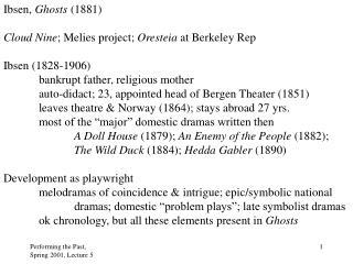 Ibsen,  Ghosts  (1881) Cloud Nine ; Melies project;  Oresteia  at Berkeley Rep Ibsen (1828-1906)