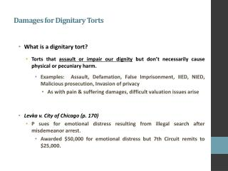 Damages for Dignitary Torts