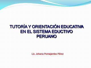 TUTORÍA Y ORIENTACIÓN  EDUCATIVA EN EL SISTEMA EDUCTIVO  PERUANO