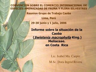 CONVENCION SOBRE EL COMERCIO INTERNACIONAL DE ESPECIES AMENAZADAS DE FAUNA Y FLORA SILVESTRES