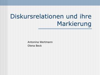 Diskursrelationen und ihre Markierung
