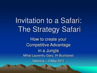 Invitation to a Safari:  The Strategy Safari