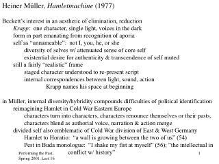 Heiner M üller,  Hamletmachine  (1977)