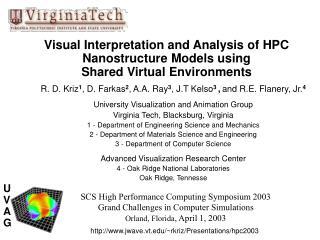 Visual Interpretation and Analysis of HPC  Nanostructure Models using Shared Virtual Environments