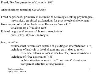 Freud,  The Interpretation of Dreams  (1899) Announcement regarding  Cloud Nine