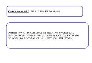 Coordinator of WP7  : INRA (P. This, JM Boursiquot)