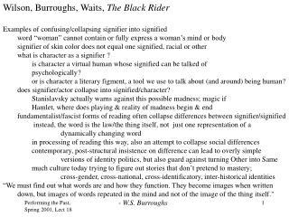 Wilson, Burroughs, Waits,  The Black Rider