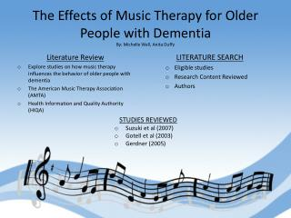 The Effects of Music Therapy for Older People with Dementia By: Michelle Wall, Anita Duffy