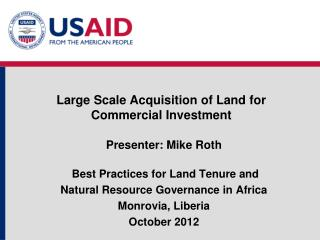 Large Scale Acquisition of Land for Commercial Investment