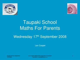 Taupaki School  Maths For Parents