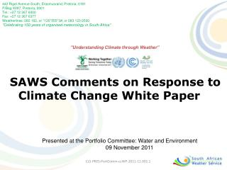 SAWS Comments on Response to Climate Change White Paper