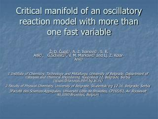 Critical manifold of an oscillatory reaction model with more than one fast variable