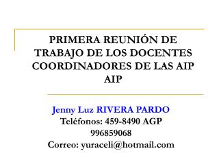PRIMERA REUNIÓN DE TRABAJO DE LOS DOCENTES COORDINADORES DE LAS AIP AIP