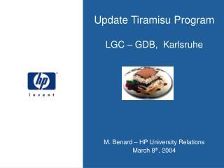 Update Tiramisu Program LGC – GDB,  Karlsruhe