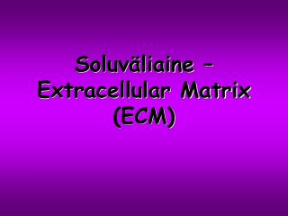 Soluväliaine – Extracellular Matrix (ECM)