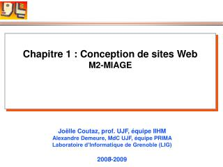 Chapitre 1 : Conception de sites Web M2-MIAGE