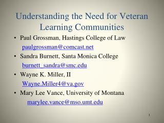 Understanding the Need for Veteran Learning Communities