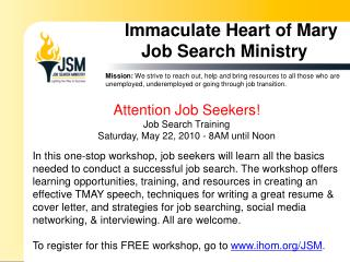 Immaculate Heart of Mary Job Search Ministry
