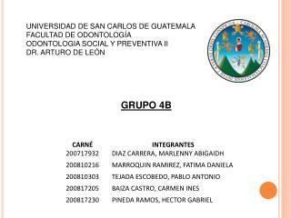 UNIVERSIDAD DE SAN CARLOS DE GUATEMALA FACULTAD DE ODONTOLOGÍA ODONTOLOGIA SOCIAL Y PREVENTIVA II