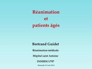 Réanimation et  patients âgés