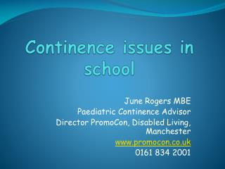 Continence issues in school