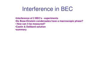Interference in BEC