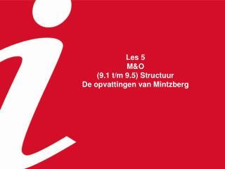 Les 5 M&O (9.1 t/m 9.5) Structuur De opvattingen van Mintzberg