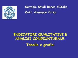 Servizio Studi Banca d'Italia Dott. Giuseppe Parigi