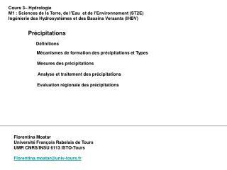 Cours 3– Hydrologie M1 : Sciences de la Terre, de l'Eau  et de l'Environnement (ST2E)