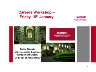 Careers Workshop –  Friday 15 th  January