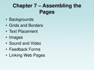 Chapter 7 � Assembling the Pages