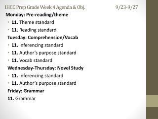 IHCC Prep Grade Week  4  Agenda & Obj. 9/23-9/27