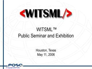 WITSML™  Public Seminar and Exhibition