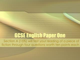 GCSE English Paper One