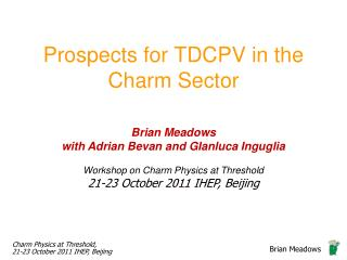 Prospects for TDCPV in the Charm Sector