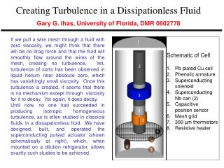 Creating Turbulence in a Dissipationless Fluid Gary G. Ihas, University of Florida, DMR 0602778