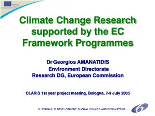 SUSTAINABLE DEVELOPMENT, GLOBAL CHANGE AND ECOSYSTEMS