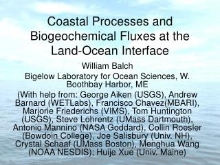 Coastal Processes and Biogeochemical Fluxes at the Land-Ocean Interface