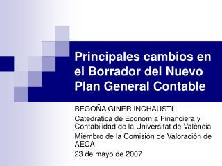Principales cambios en el Borrador del Nuevo Plan General Contable