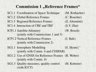 "Commission 1 ""Reference Frames"""